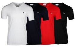 Lacoste Menand039s V-neck Pima Cotton Jersey Short Sleeve T-shirt Th6710-51