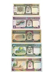 Saudi Arabia, King Fahd full set issue 1980s, banknote,1,5,10,50,100 Riyal-lot 2