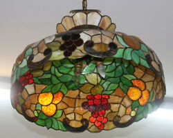 Beautiful Colorful Mid 1950s Era Style Stained Glass Chandelier Lamp