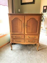 Antique Wood Storage Armoire Cabinet With Queen Anne Legs