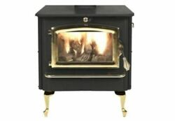 Nc Wood Burning Stove W/ Gold Door And Large Queen Anne Black Legs