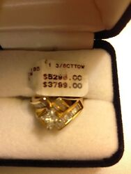 1 3/8 Ctdw Princess Brilliant Diamond Ring In 14kt Pure Yellow Gold Size 8