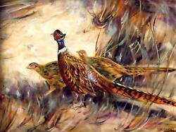 Sale Sale Original Pheasant Oil Painting On Canvas Signed 18andrdquo X 24andrdquo Signed