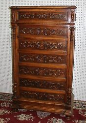 Antique Country French Walnut Marble Top 5and039 Tall Chest Cabinet Louis Xvi C1880
