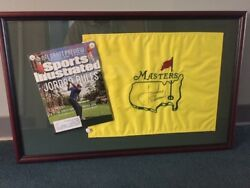 Jordan Spieth Signed Masters Flag Framed With Sports Illustrated Fundraiser