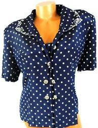 Leslie fay Vintage blue polka dot embroidered short sleeve button down top 18