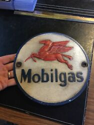 Mobil Gas Oil Sign Man Cave Advertisement 1/4andrdquo Thick Cast Iron Plaque Chevron Nr