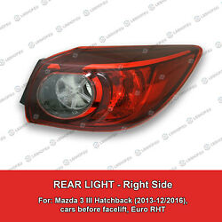 Tail Light Right Lamp for Mazda 3 III Hatchback 2013-2016 TYC