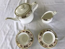 Royal Crown Derby Teapot, Creamer, Cups And Saucers, Derby Border Pattern