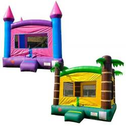 Pogo Premium Tropical And Princess Inflatable Bounce House Castles With 2 Blowers
