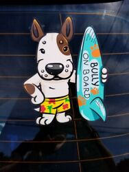 English Bull Terrier Pit Bull Dog Surf SUP Stand Up Paddle Surfing Decal Sticker