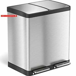 iTouchless 16 Gallon Dual Step Trash Can Recycle, Stainless Steel Lid and Bin