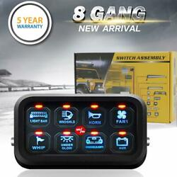 Switch Panel 8 Gang Marine/boat On-off Toggle Switch Led Light Blue Controller