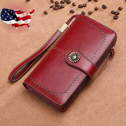 RFID Women#x27;s Genuine Leather Long Hollow Out Wallet Money Card Holder Clutch USA $24.80
