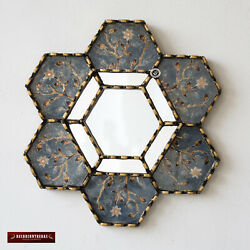 Hexagonal Blue Wall Mirror 11.8quot; from Peru Decorative Accent Small Mirrors wall