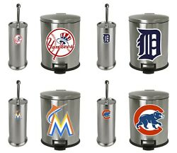 Mlb Stainless Steel Trash Can And Toilet Brush Set W/ Baseball Team Logo Decals