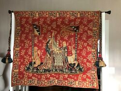 Antique French Wall Tapestry Les Dame a la Licorne 15th century 374quot; x 433quot;