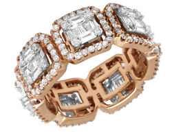 Real Diamond Baguette Eternity Ring Band 14k Rose Gold Menand039s Ladies 8mm 2.9 Ct