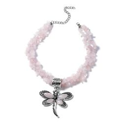 Dragonfly Pendant Necklace Rose Quartz Gift Jewelry for Women Size 18