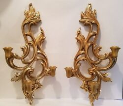 Vintage Pair Of Wood French Style Wall Sconces Candle Holders