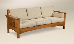 Amish Arts And Crafts Sofa Couch Upholstered Solid Slat Wood Back Surround