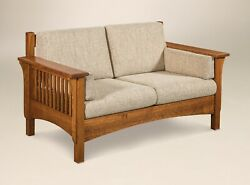 Amish Mission Arts And Crafts Loveseat Love Seat Upholstered Wood Slat Back