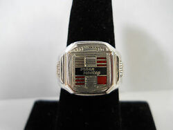Classic 1950s Style Cloisonne Chrome Nash Healey Crest Logo Nickel Silver Ring