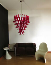 Italian Vintage Murano Chandelier In The Manner Of Mazzega - 75 Red Glass Petals