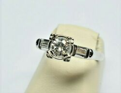 Vintage 14k Solid White Gold 0.51 Tcw Vs1 Clarity F Color Diamond Ring Size 6