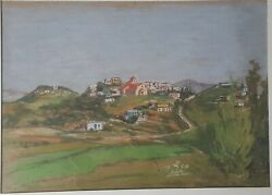 Unusual Special large pastel Carmel village 1958 Israel Jewish Don't miss