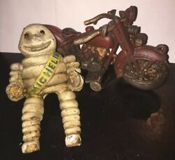 Michelin Man Motorcycle Cast Iron Patina Harley Collector Man Cave Toy Set Lot