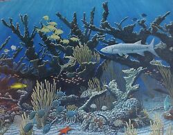 Original Wildlife Painting Of Coral Reef, By Michael Winston, 22 X 28
