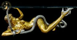Art Deko Bronze Sculpture Erotic Lifesize Sexual Woman Coffee Table Cobra Girl