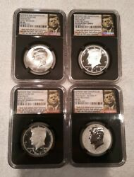 2014 50c Kennedy 50th Ann. 4 Coin Set High Relief Early Releases Ngc Sp/pf 69 Pl