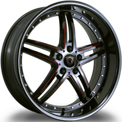 20x9 Marquee M.5329 5x112 Black With Red Accent Wheels Rims Fits Audi Vw