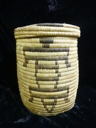 Vintage Papago Coiled Covered Basket Figured Humanoid Lizard Design 9.5 Tall
