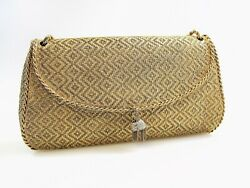 SOLID 18 KT YELLOW GOLD VINTAGE WOVEN MESH MINAUDIERE HANDBAG W PAVE DIAMONDS