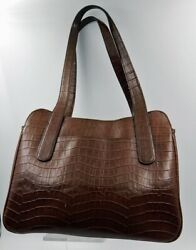 DESIGNER Small Shoulder Bag  Satchel  JONES NEW YORK Brown Snake Pattern Leather $75.00