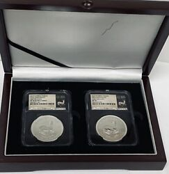 2017 South Africa Krugerrand 50th Anniversary Set Ngc Pf70 Ucam And Sp70 Wood Box