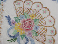 Home Made Queen Quilt Fan Design Hand Cross Stitched Blue With White Back