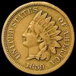 1859 Indian Head Cent Snow-1 Top-100 Rpd Highly Collectibleih249