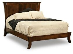 Amish Modern Panel Bed Curved Posts Low Foot Board Solid Wood King Queen