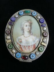 Antique 800 Silver Trinket Box W/ Hand Painted Portrait Under Glass-mixed Stones
