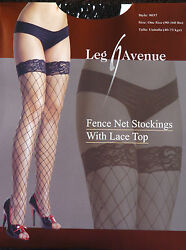 Leg Avenue Fashion Fence Net Lace Top Black Thigh-high Stockings One Size