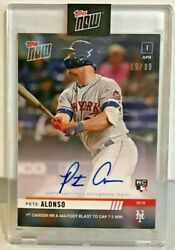 Pete Alonso 2019 Topps Now Baseball Rc 32a 1st Career Hr Autograph Auto And039d/99