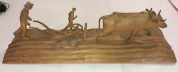 """Vintage Black Forest Carving Farmers Plowing Sculpture Signed And Tag 28"""" Quality"""