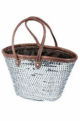 Fashion Sparkling Silver Sequin amp; Leather Straw Tote French Bag Handbag XXL $45.50