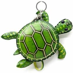 Turtle Design Genuine Handcrafted Wristlets Cash Coin Purses With Key Ring For