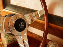 Mercedes 280 Sl Wood Steering Wheel Nardi 15.3 Old Type 1970and039s Horn Button Nos