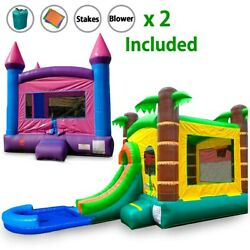Pogo Premium Inflatable Pink Bounce House And Tropical Water Slide Combo And Blowers